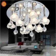 Современный хороший подвесные светильники с 9 огней, Украшения хрустальный шар и цветы, Лучшее украшение для гостиной, Спальня, Столовая