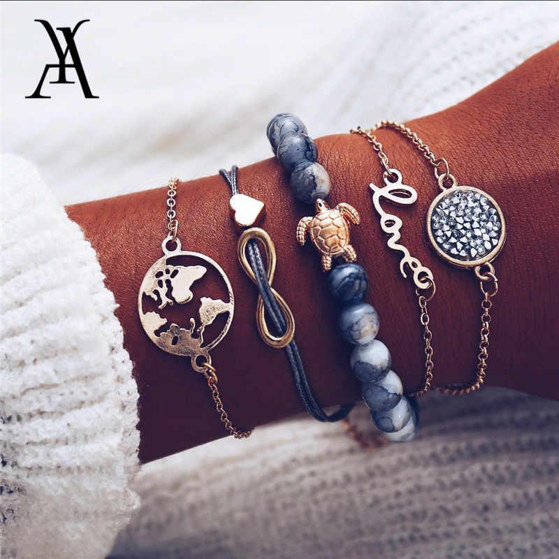 20e20bb961077 Boho Multi Layered Love World Map Earth Infinity Turtle Charm Bracelet  Natural Stone Beads Bracelets Stacking Bracelet Set
