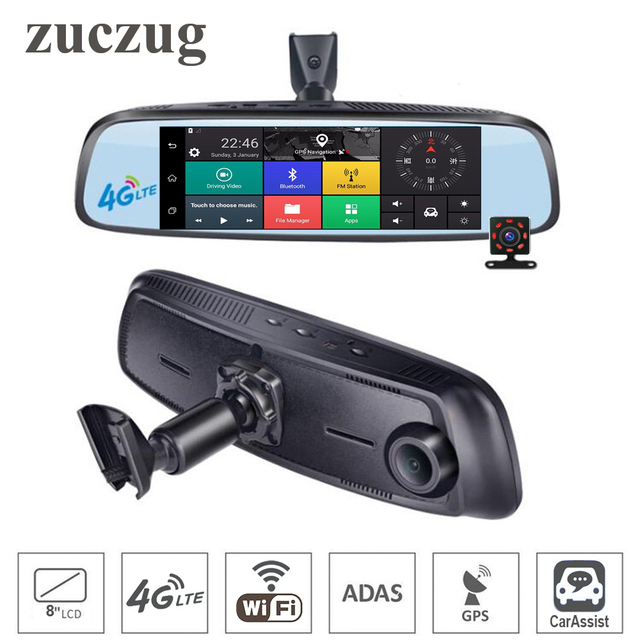 8 inch 4G Touch IPS Car DVR Camera Backup Mirror GPS Bluetooth WIFI Android 5.1 Dual Lens FHD 1080p Video Recorder Dash Cameras