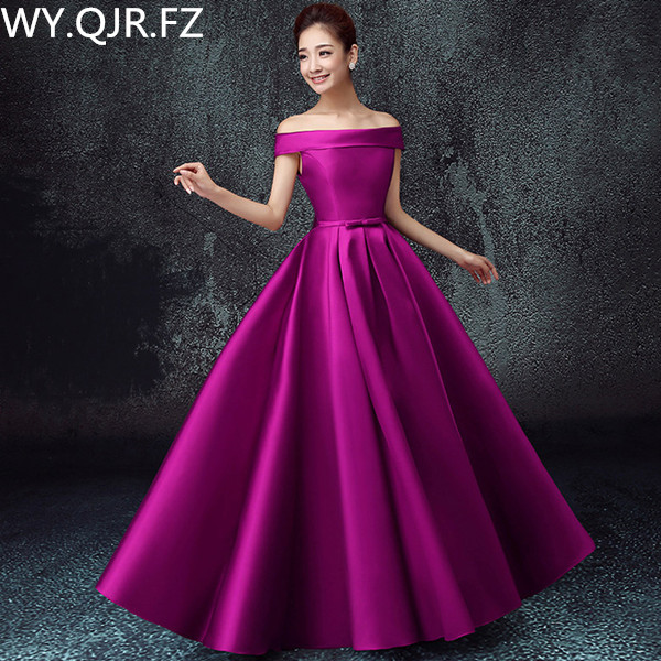 LBHS2145#Off Shoulder lace up plus size 2018 new bridesmaid dresses for autumn and winter bride's wedding gown cheap wholesale