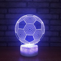 Home Decor Bedroom Football Shapes Touch Button 3D LED Visual Night Lights Colorful Gradient Table Lamp Mood Lighting Decoration