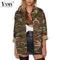 2017 Primavera Moda de Rua Camuflagem Verde Do Exército Mulheres Jaqueta Casacos Outwear Militar Ocasional Solto Casaco Feminino