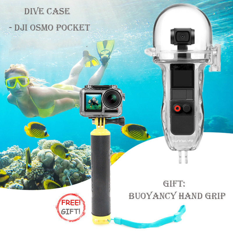 Sunnylife OSMO Pocket Waterproof Case Underwater 60m Diving Protective Shell Housing Floaty Grip for DJI OSMO