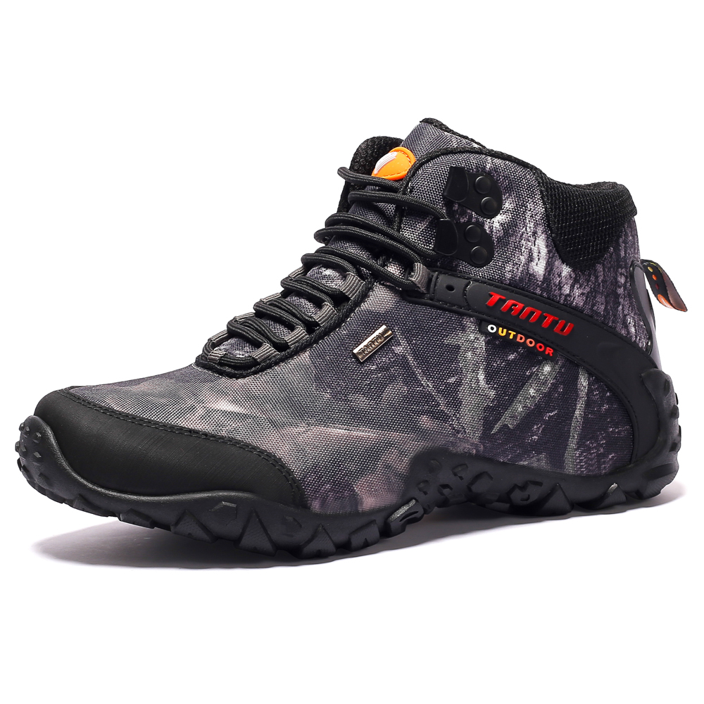 Date Hommes Randonnée Chaussures Toile Imperméable En Plein Air Chaussures Anti-dérapage Montagne Escalade De Pêche Bottes Sneakers Sport Chaussures de chasse