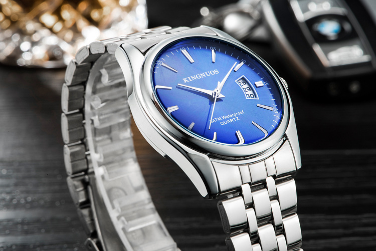Kingnuos Tops Luxury Brand Men Full Stainless Steel Business Watches Men's Quartz Date Clock Men Wrist Watch relogio masculino 9