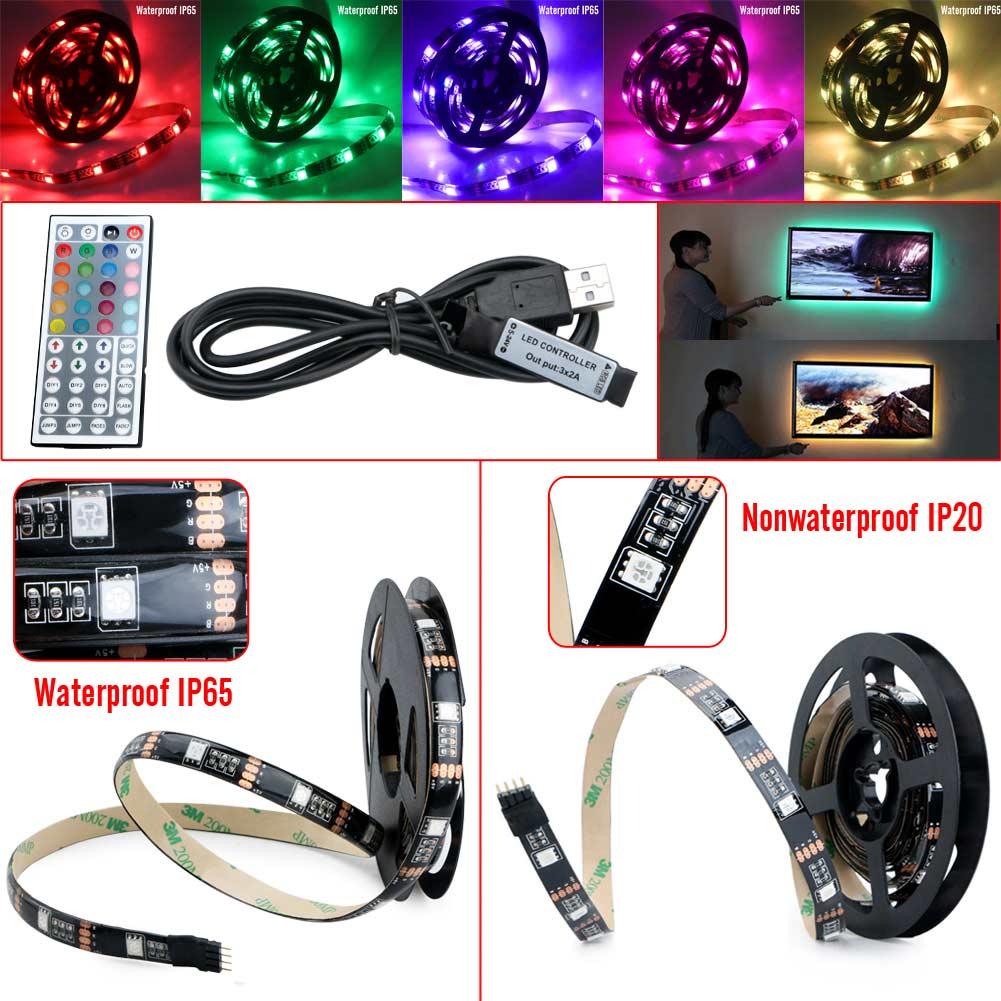 SMD RGB LED Strip Light Waterproof 5050 1M/2M 30Leds/m Tape USB Power TV Background Backlighting Kit Set W/44key 5V Controller