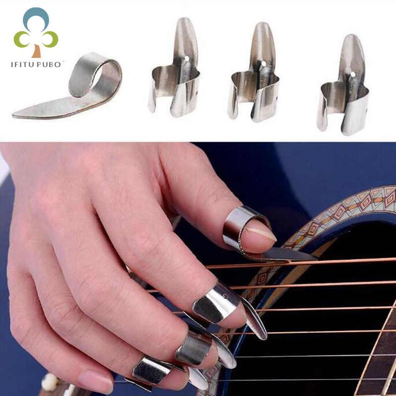 4 pièces en acier inoxydable 1 pouce et 3 doigts ongles guitare pics Plectrums ensemble métal acoustique guitare basse électrique accessoires GYH