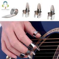 Juego de púas para guitarra de acero inoxidable, 1 pulgar y 3 dedos, accesorios para guitarra eléctrica, acústica, de Metal, GYH, 4 Uds.