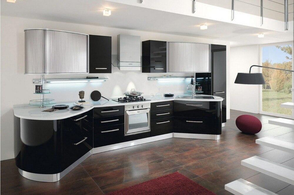 2017 vendite calde moderno bianco laccato 2PAC mobili da cucina su ...