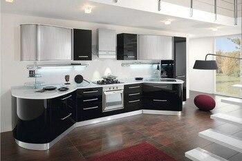 Gran oferta 2019 de armarios de cocina modernos de gran blanco brillante 2PAC, muebles de cocina modulares personalizados L1606033