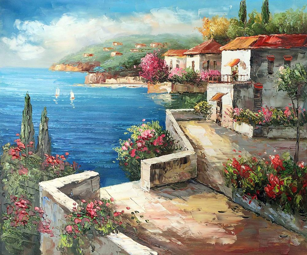 new year gift modern canvas mediterranean landscape oil painting for living room wall decoration. Black Bedroom Furniture Sets. Home Design Ideas
