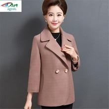 JQNZHNL2017New High-end Middle-aged Spring Women Coat Elegant temperament Fashion Short Jacket Large size Solid color Coat AS219