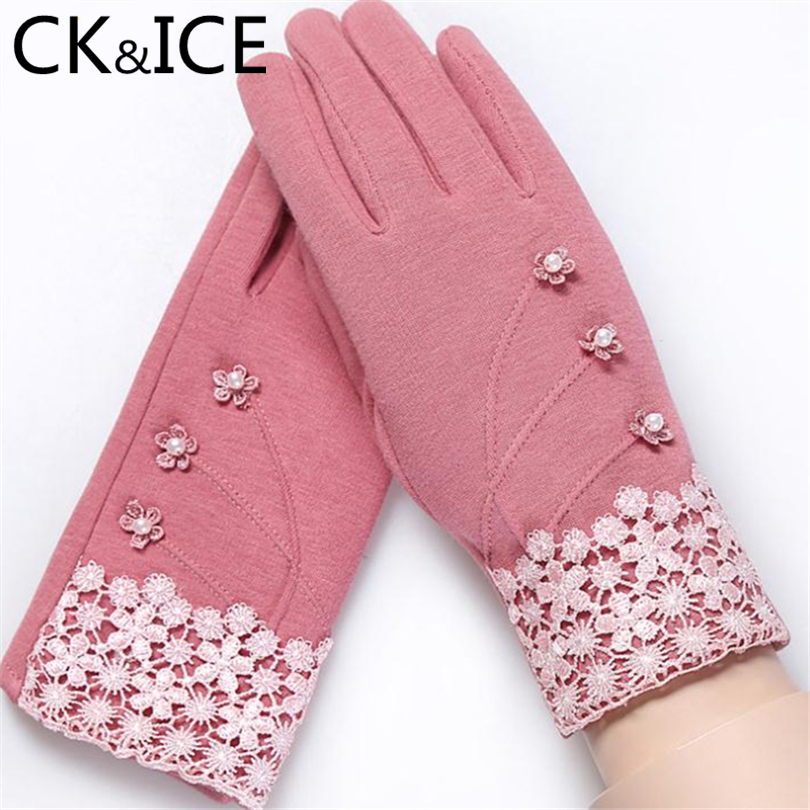 CK&ICE Warm Winter Elegant Womens Gloves Embroidery Pearl Flower Bow Wrist Gloves Mittens Cashmere Full Finger Guantes Mujer