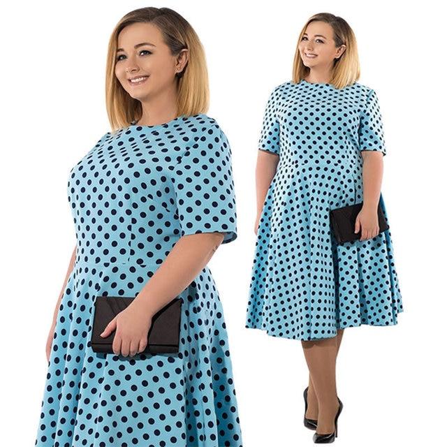 US $35.07 |Autumn Dress Casual Women 1/2 Sleeve Polka Dot Swing Dress 6XL  Large Size Women Clothes Plus Size Dresses For Women 4XL 5XL 6XL-in Dresses  ...