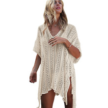 цены Women holiday bohemian dress white v loose sexy dress loose embrodery beach hollow out stitching V-neck summer boho dresses