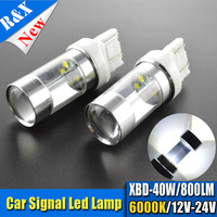 2x White Red Amber 40W High Power 7440 7443 T20 LED Bulbs For Front Or Rear