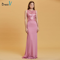 Dressv Peach Evening Dress Cheap Scoop Neck A Line Embroidery Appliques Floor Length Wedding Party Formal
