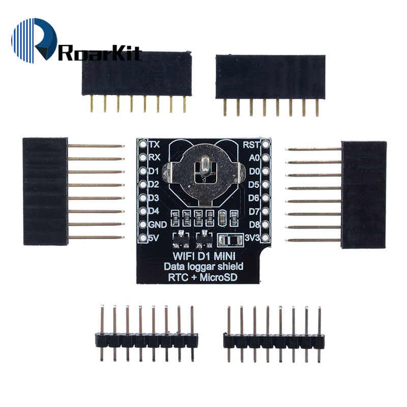 ESP8266 D1 Mini Pro WiFi NodeMcu enregistreur de données bouclier DS1307 batterie 0.66 OLED DC puissance Buzzer V1.0.0 double Base pour WeMos kit de bricolage