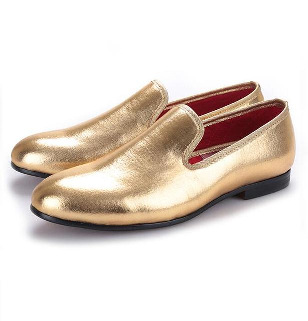 Mens Spring Casual Formal Wedding Shoes Men Flat Loafers Lining Leather Gold  Dress Shoes Men