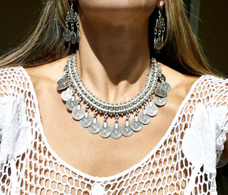 Bohemian Vintage Colar Silver Coin Choker Bib Necklace Jhumka Earrings Turkish Gypsy Indian Tribal Necklace Afghan Jewelry Sets