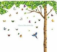 자연 스타일 벽 스티커 DIY 나비 새 밑에 녹색 잎 나무 이동식 벽 데칼