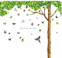 Natural Style Wall Stickers DIY Butterflies Birds Under Green Leaves Tree Removable Wall Decal