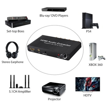 оптические аудиокабели | 4K 3D с регулятором громкости аудио экстрактор HDMI к HDMI с оптическим Toslink аналоговый 5.1CH 2.0CH аудио сплиттер для Blu-Ray