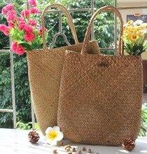 купить Hand Woven Large Rattan Straw Bag Flower Basket Storage Tote Female Bags Travel Handbag Shopping Braided Hand Bag For Women Girl по цене 579.67 рублей