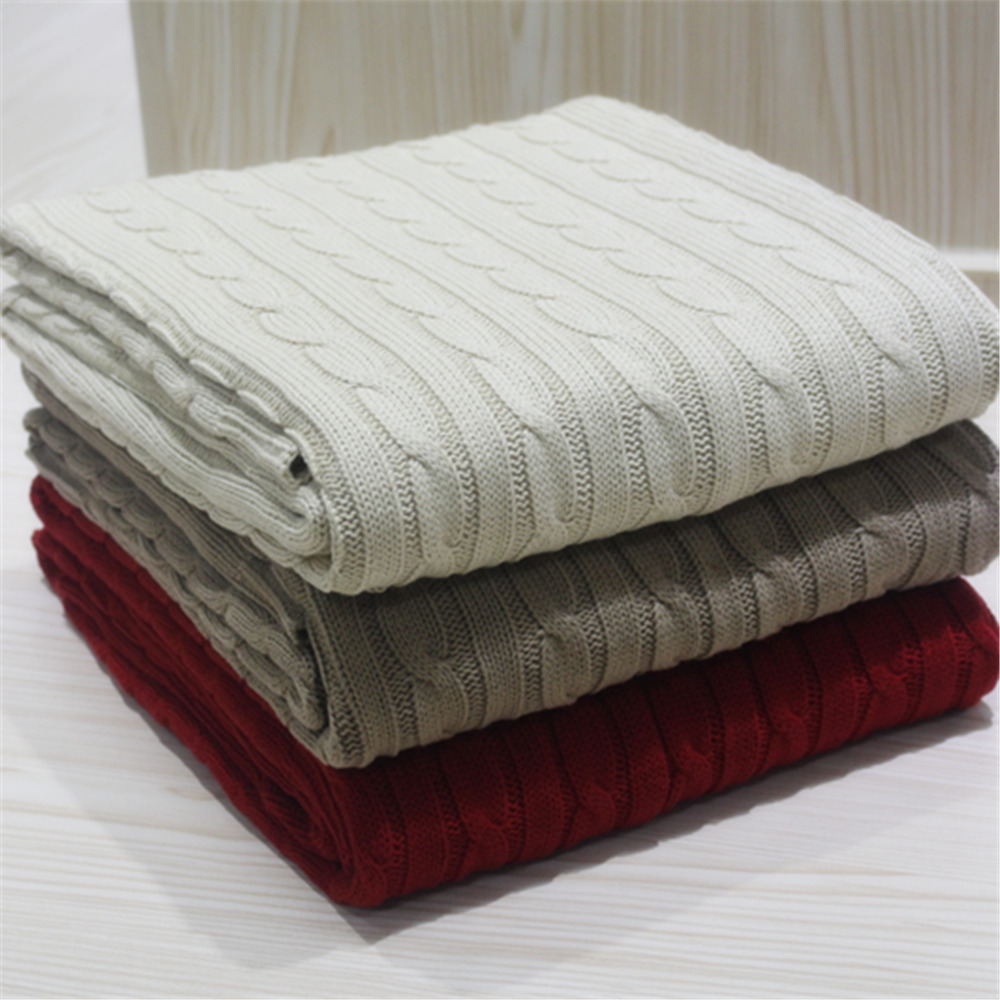 quality 100 cotton cable knit throw or blanket bed throw lounge cover and blanket soft cotton bed cover - Cable Knit Throw