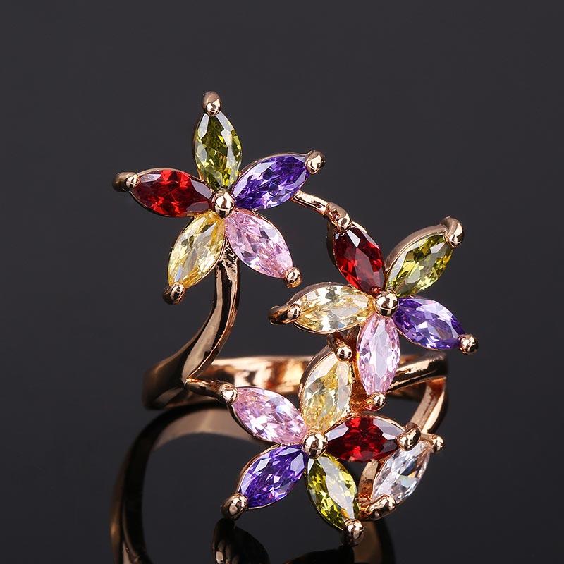CWEEL Weeding Engagement Rings For Women Austrian Imitation Crystal Zircon Ring Rose Gold Color India Dubai Big Water Drop Rings (42)