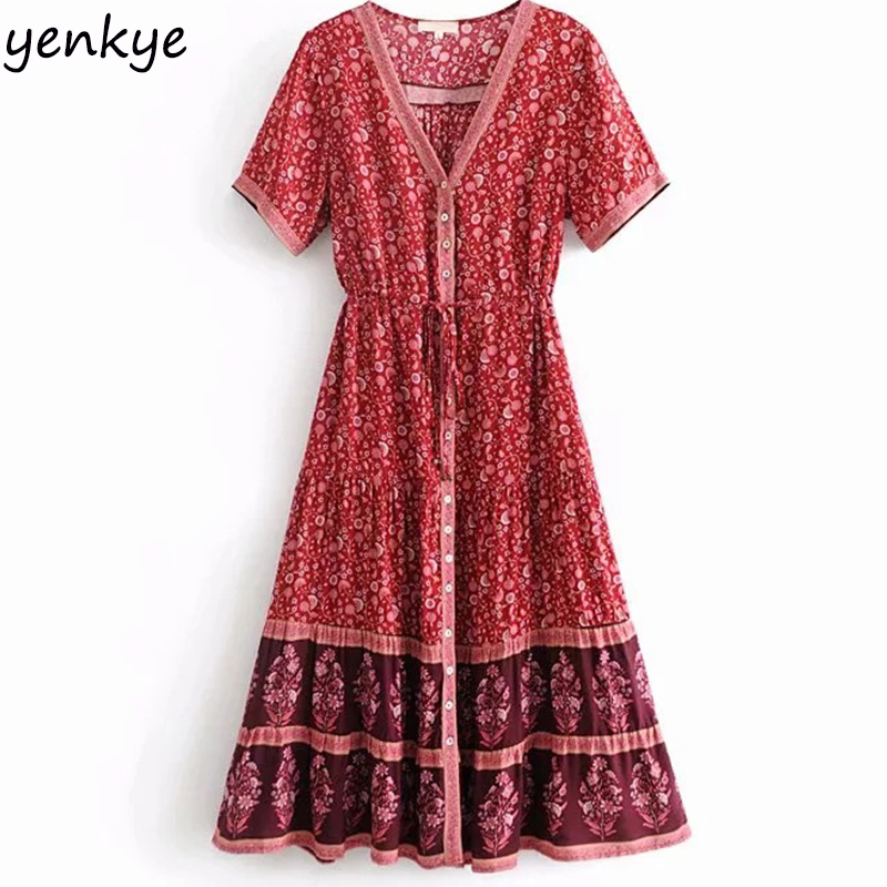 Holiday Boho Summer Dress Women Patchwork Floral Printed
