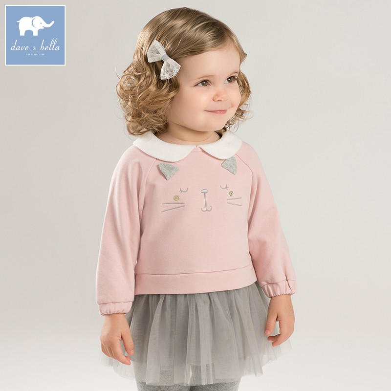 DBM7760 dave bella autumn baby long sleeve dress girls mini dress children party birthday clothing infant