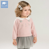 DBM7760 dave bella autumn baby long sleeve dress girls mini dress children party birthday clothing infant toddler mesh clothes