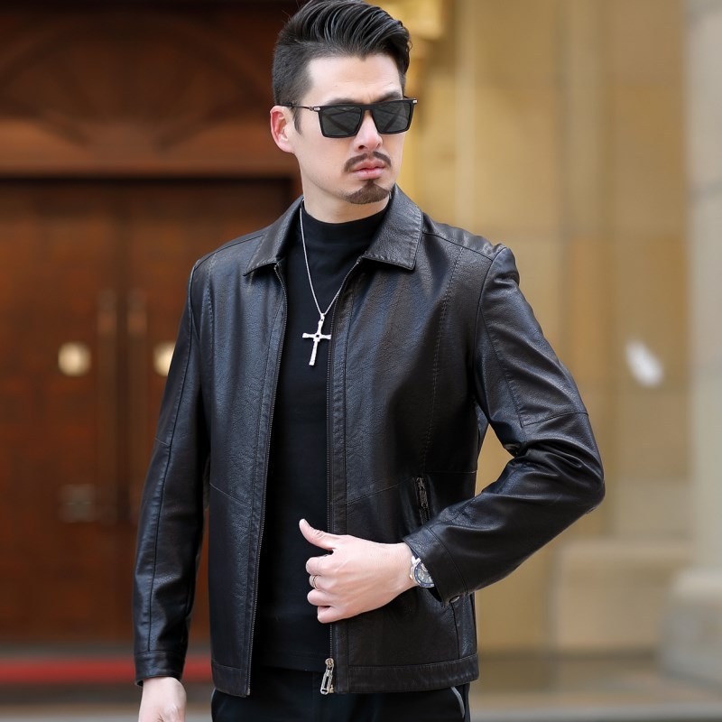 2019 New Arrival Leather Jackets Fashion Men's jacket Male Black Outwear Men's Coats Spring & Autumn PU Thin slim fit Jacket