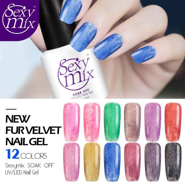 Y Mix 7ml Long Lasting Faux Fur Effect Gel Nail Polish 12 Color Soak Off Uv