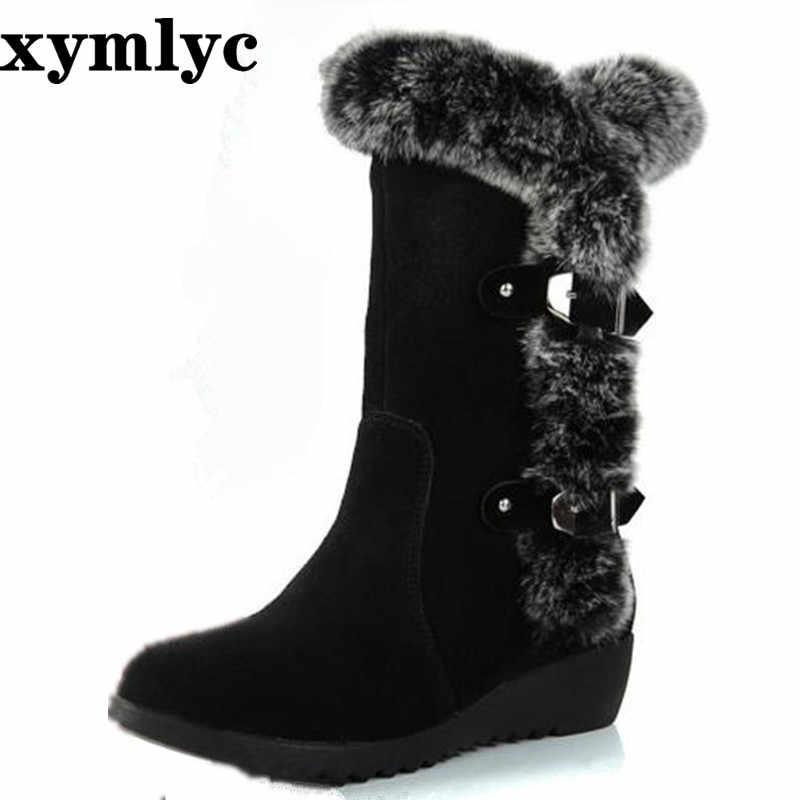 2019 Mới Nóng Giày Bốt Nữ Mùa Thu Đàn Mùa Đông Thời Trang Nữ Ủng Giày Đùi Da Lộn Cao Cấp Giữa Bắp Chân Giày size Lớn 35-42