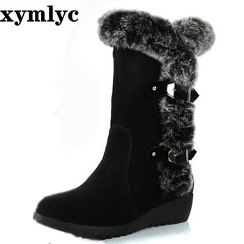2020 New Hot Women Boots Autumn Flock Winter Ladies Fashion Snow Boots Shoes Thigh High Suede Mid-Calf Boots big size 35-42 snow boots platform 4 8cm heels down flat women shoes black white blue mid calf boots fashion ladies winter boots plus size 44
