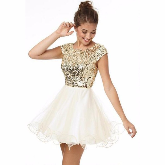 Custom Made Cheap Homecoming Dresses Under 100 A Line White And Gold