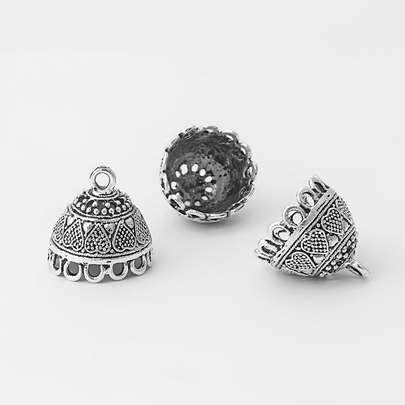 10pcs Antique Silver Bell Shape End Cap Beads Tassels Charms Pendants For Jewelry Making Findings