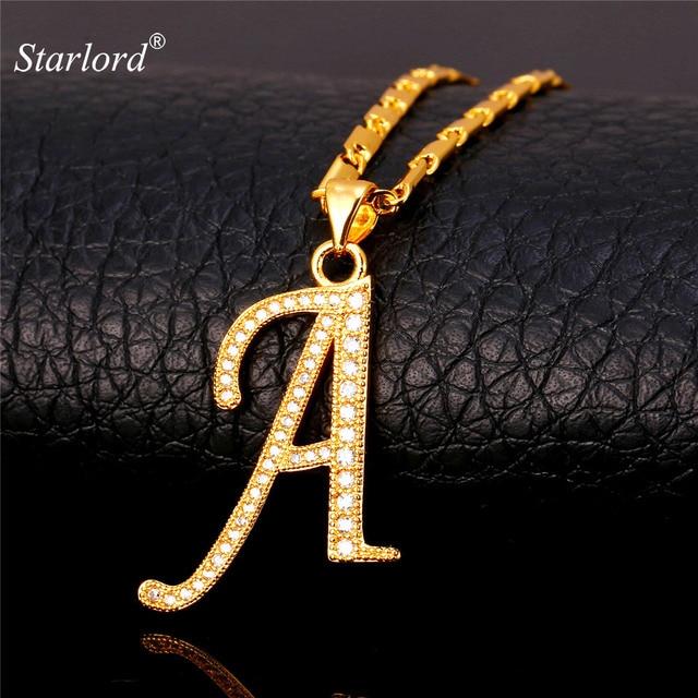 b9d81b7d897c Initial A Letter Pendants   Necklaces Women Men Personalized Gift Alphabet  Jewelry Gold Color Necklace P1671