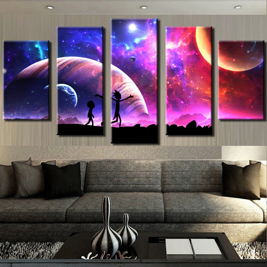 Canvas Pictures Home Wall Art Framework Decor 5 Pieces Rick And Morty Painting For Living Room HD Prints Animated Cartoon Poster 1