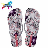 2017 Hotmarzz Women Fashion Floral Print Silver Slippers Home Summer Beach Shoes Ladies Flat Flip Flops