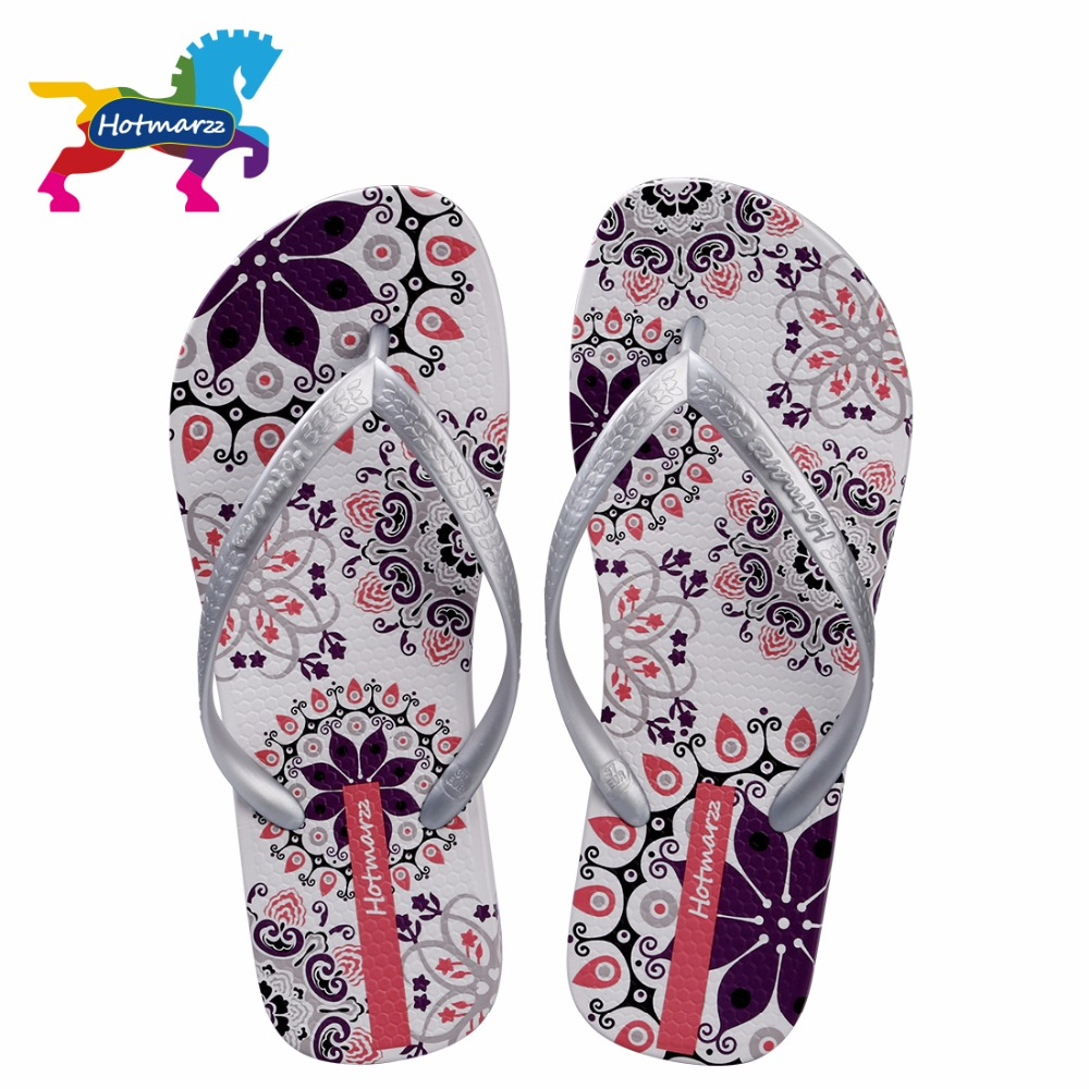 Hotmarzz Women Summer Bohemia Beach Sandals Flat Flip Flops Ladies Fashion Slippers Indoor Shoes Silver Floral Slides