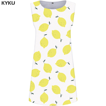 KYKU Lemon Dress Women Fruit White Dresses Beach Leaf 3d Print Sundress Tank Vintage Womens Clothing Ladies Sleeveless Tunic New