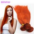 Peruano Remy virginal naranja recta armadura del pelo humano 3 Bundles cabello humano recto de Orange Weave extensión