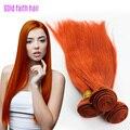 Peruano virgem Remy cabelo laranja reta tecer cabelo humano 3 pacotes de cabelo humano direto Weave extensão