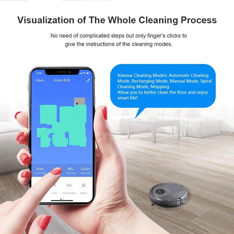 LIECTROUX ZK808 Roboter Staubsauger, WiFi App, Karte Display, 3000 pa Saug-, Smart Memory, nass Trocken Mopp für Pet Haar und Boden & Teppich