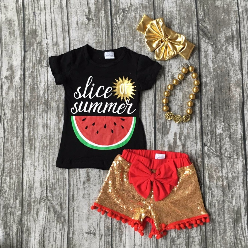 Summer baby child girls cotton outfitsslice of  summer  shorts black red watermelon boutique clothes matching accessories 2016 summer baby child girls outfits ruffles shorts white striped watermelon boutique ruffles clothes kids matching headband set