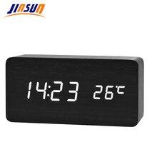 Wooden LED Alarm Clock+Time/date/temperature Digital Bamboo Wood Clock Voice Activated Table Clocks Reloj Despertador KSW104