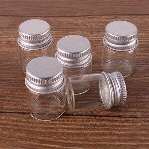 Image 1 - 100 stücke 5 ml Größe 22*30mm Transparent Glas Parfüm Gewürzflaschen Tiny Gläser Fläschchen Mit Silber Schraube kappe DIY Handwerk